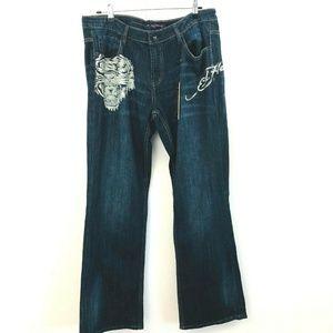 NWT! Ed Hardy Tiger Rhinestone Boot Cut Jeans